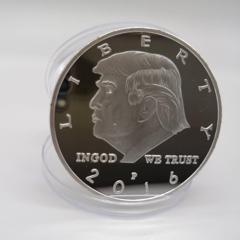 Не менее 2019, президент Дональд Трамп с серебряным покрытием, памятная монета с республиканским патриотизмом