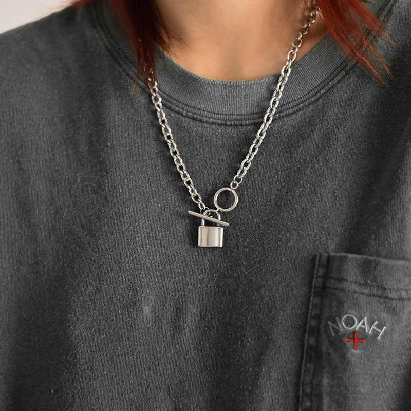 جديد الفولاذ المقاوم للصدأ روك قفل المختنق قلادة سلسلة طويلة مجوهرات بسيطة Mujer مفتاح قفل قلادة قلادة للنساء هدية