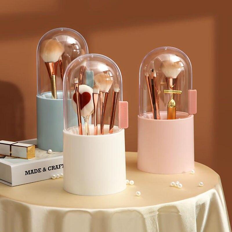 فرشاة للمكياج صندوق تخزين منظم أدوات التجميل فرشاة للمكياج حامل برميل الحاجب قلم رصاص صندوق بلاستيكي مقاوم للماء يحتوي على اللؤلؤ