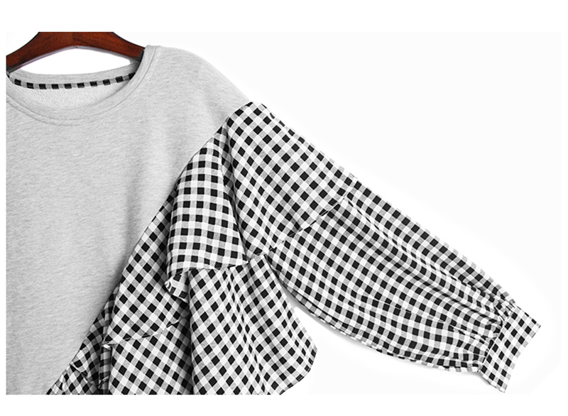 [EAM] Loose Fit Gray Plaid Ruffles Sweatshirt New Round Neck Long Sleeve Women Big Size Fashion Spring Autumn 2020 1DA145 4