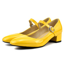 Mary Jane Shoes for Women Medium Heels Pumps Block Heel Shoes Woman Round Toe Patent Leather Dress Office Ladies Shoes Yellow women s velvet med heel comforable mary jane pumps brand designer round toe spring new female cute footwear shoes for women sale