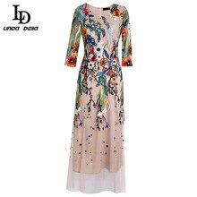 LD LINDA DELLA Spring Fashion Designer Long Dress Women's V neck Gorgeous Mesh Flowers Embroidery A Line Elegant Party Dresses