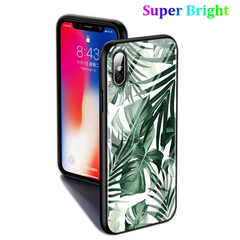 Black Cover Summer Leaf Plants Art for iPhone X XR XS Max for iPhone 8 7 6 6S Plus 5S 5 SE Super Bright Glossy Phone Case in Fitted Cases from Cellphones Telecommunications