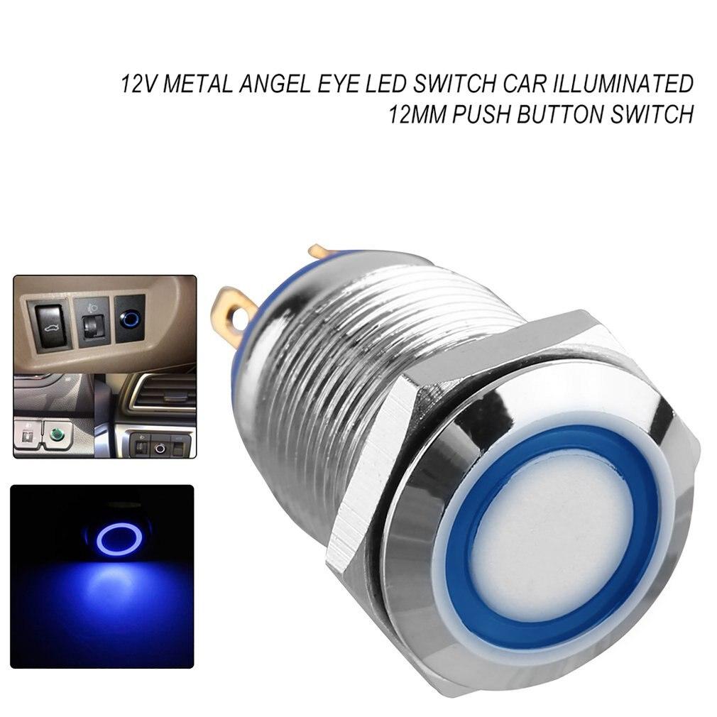 12V métal ange oeil LED voiture illuminée verrouillage 16mm bouton poussoir interrupteur métal bouton poussoir blanc facile à installer - 4