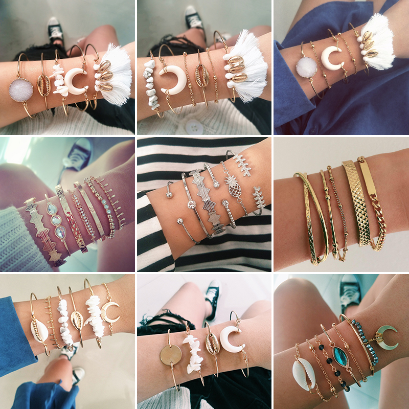 21Style Bangle Boho Women Pineapple Shell Star Moon Arrow Bead Chain Open Bracelet Fashion Heart Letter Crystal Gem Bracelet Set