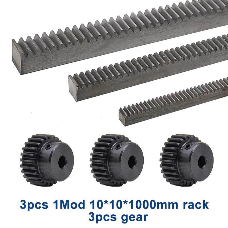 3Pcs/lot 1Mod 1 Modulus High Precision Gear Rack Steel 10*10*1000mm + 3Pcs 1M 17teeth Pinion 15tooth Pinion 16tooth Pinion