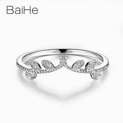 BAIHE Art Deco stałe 10k białe złoto okrągły cut obrączka 0.04ct 100% naturalne diamenty kobiety elegancka biżuteria zaręczynowa pierścionek na prezent