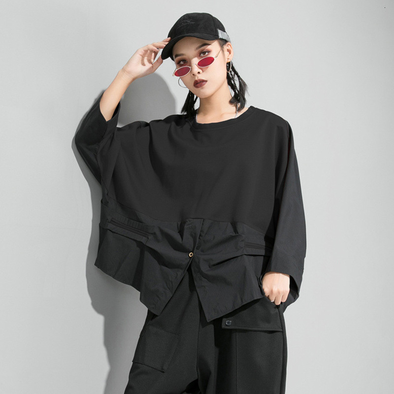 [EAM] Loose Fit Contrast Color Oversized Sweatshirt New Round Neck Long Sleeve Women Big Size Fashion Spring Autumn 2020 1D716 4