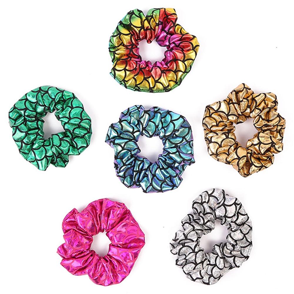 Glitter Colorful Hair Scrunchies Women Elastic Hair Bands Girls Headwear Bright Color Silk Ponytail Holder Hair Tie Accessories
