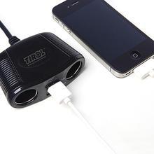 Auto Leichter Splitter 2 Sockel Dual USB Ladegerät Power Adapter Outlet Power Adapter 3 1 A ausgang power Auto Zubehör cheap sikeo 2 Mit USB 10-19 V 10 V-19 V