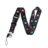 K2052 Wholesale 20pcs/lot Colorful Star Key Lanyard ID Card Pass Mobile Phone USB Neck Straps Badge Holder Key Strap