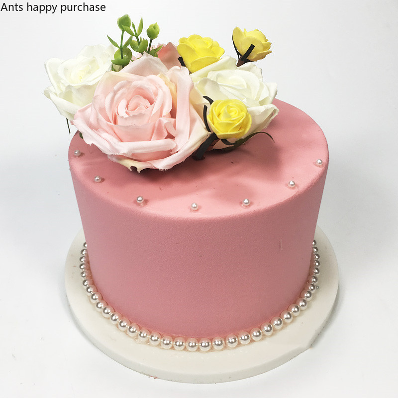 Magnificent Cake Model Pink Simulation Sample Floral Birthday Cake Model Funny Birthday Cards Online Alyptdamsfinfo