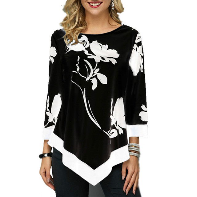 4XL Plus Size Women Blouses 2019 Autumn Tops Casual Long Sleeve Print Lace Patchwork Shirt Lady Irregular Blouse Large Size 5XL 2