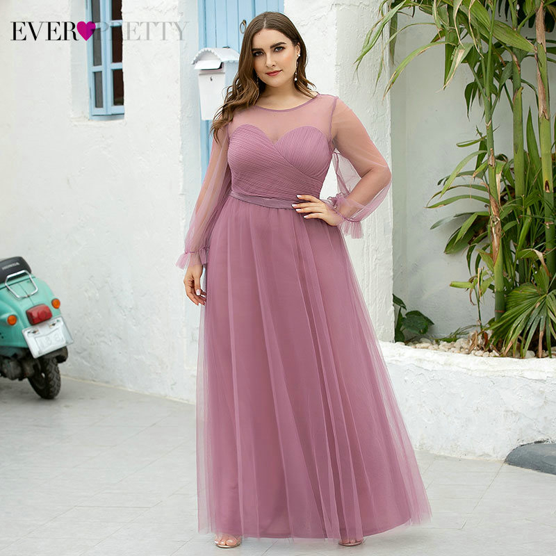 Plus Size Prom Dresses Ever Pretty A-Line See-Through Long Sleeve O-Neck Ruched Tulle Elegant Dusty Pink Party Gowns Vestidos