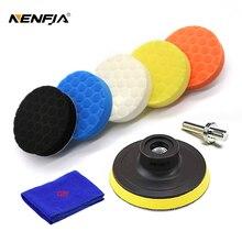 5 pçs hexagonal polido conjunto de almofada esponja disco polimento esponja enceramento almofada kit conjunto para carro polidor buffer 3/4/5/6/polegadas