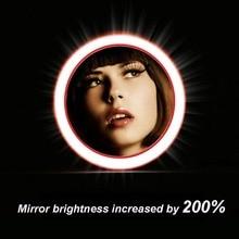 Portable LED Lighted Mini Circular Makeup Mirror Wireless Charging led Power Bank Travel Sensing Lighting Cosmetics