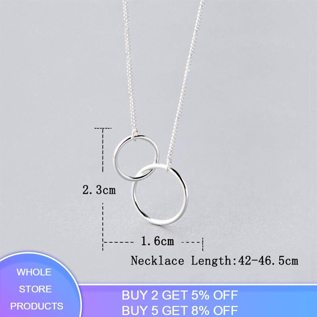 Anenjery Double Circle Interlock Clavicle Short Necklace 925 Sterling Silver Necklace For Women collares erkek kolye S-N191 1