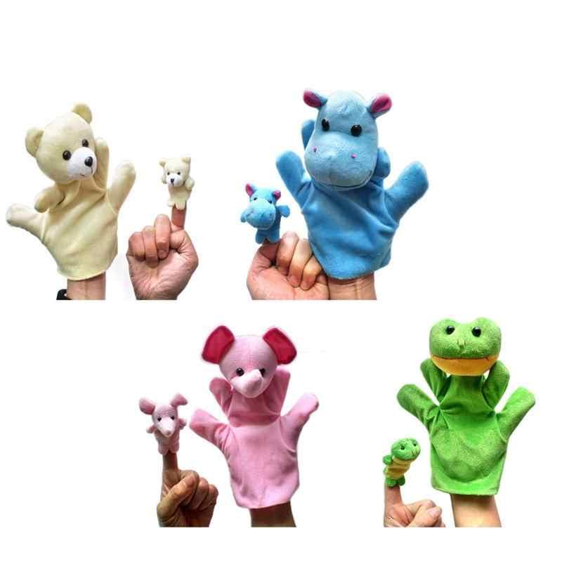 4 ensemble mignon Animal gant marionnette à main poupées en peluche bébé marionnette à main doigt sac en peluche (hippopotame, ours, éléphant, en forme de grenouille)