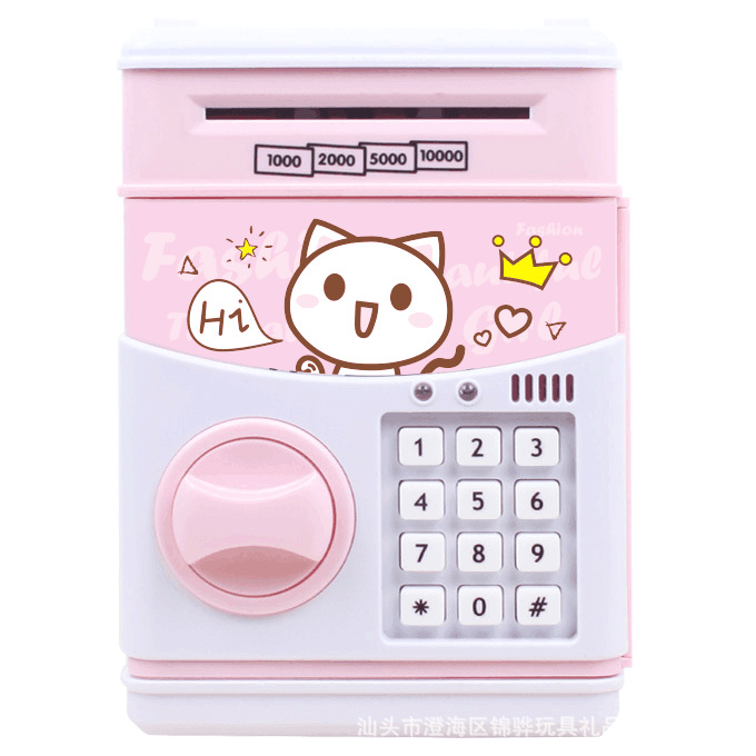 Electronic  Password Money Box Cash Coin Savings Box Bank Safe Cartoon Electric Piggy Bank Plastic Music Automatic  Roll Money