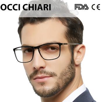 OCCI CHIAR męskie blokujące niebieskie światło okulary do czytania komputer Nerd nadwzroczność okulary okulary z acetatu rama 1 0 1 5 2 0 2 5 3 0 tanie i dobre opinie OCCI CHIARI Przezroczysty Antyrefleksyjną OC5026 4 2cm Akrylowe 5 4cm Octan black transparent demi rectangle Myopia glasses reading glasses Anti-blue lens