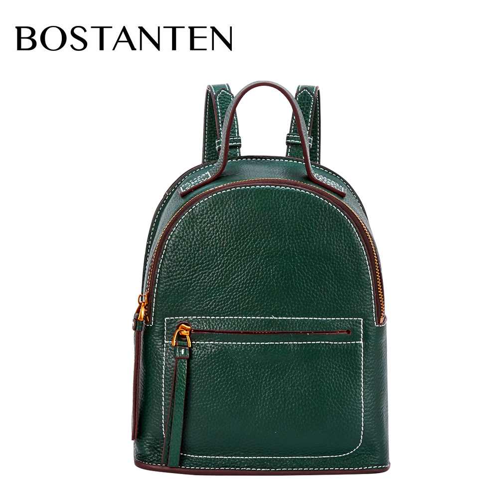 Bostanten Fashion Genuine Leather Backpack Women Bags Preppy Backpack Girls School Bags Zipper Leather Backpack