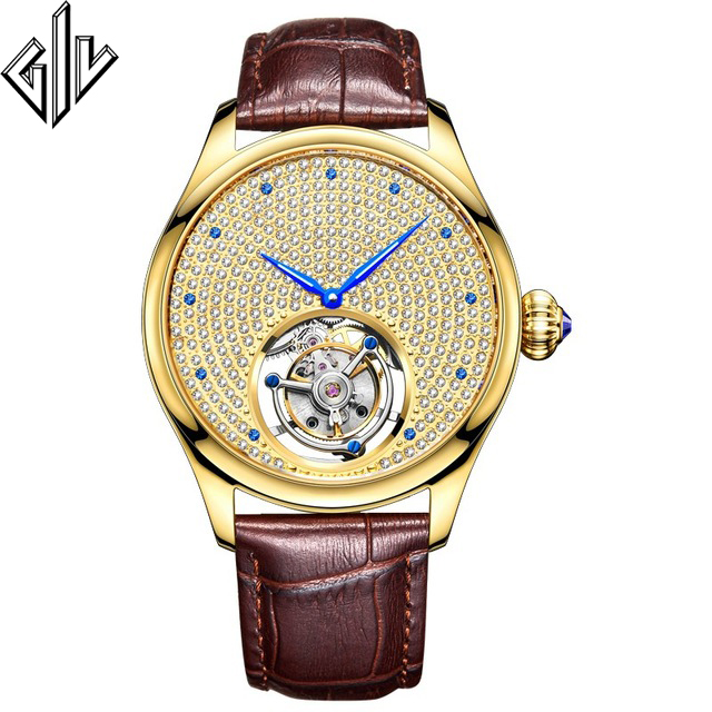 GIV 2020 Tourbillon Gold Watch Men Mechanical Sapphire Rhinestone Men Clock Top Brand Male Watches Luxury Montre Homme New