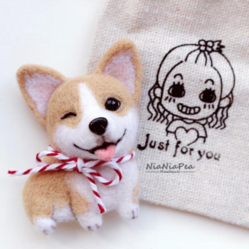 DIY Handmade Wool Felt Needle Poked Kitting Cute Animal Dogs Brooch Pet Material Kit Children Handmade Non-finished Toys