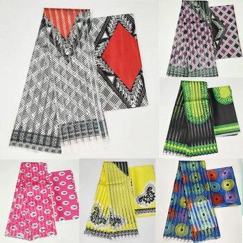 Gran oferta, tela de seda satinada estilo Gahna con cinta de organza, diseño de cera africana. J71401