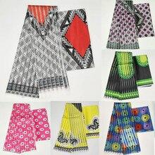 Hot sale Ghana Style satin silk fabric  with organza ribbon African wax design ! J71401