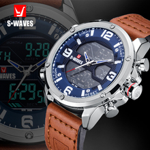 SWAVES Leather Watch Men Military Dual Display Fashion LCD Relojes Para Hombre W