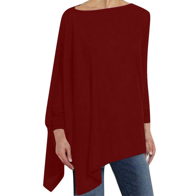 Jocoo Jolee Cotton Irregular Womens Tops And Blouses Casual O Neck Long Sleeve Loose Shirt Female Solid Sweatshirt Solid Pullove