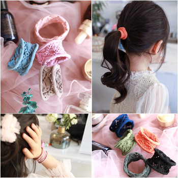 300pcs/lot DIY Simple Multi Fabrics Girls Zero-interval Pierced Hair Band Lace Bracelets Hair Styling Tools Accessories HA1353