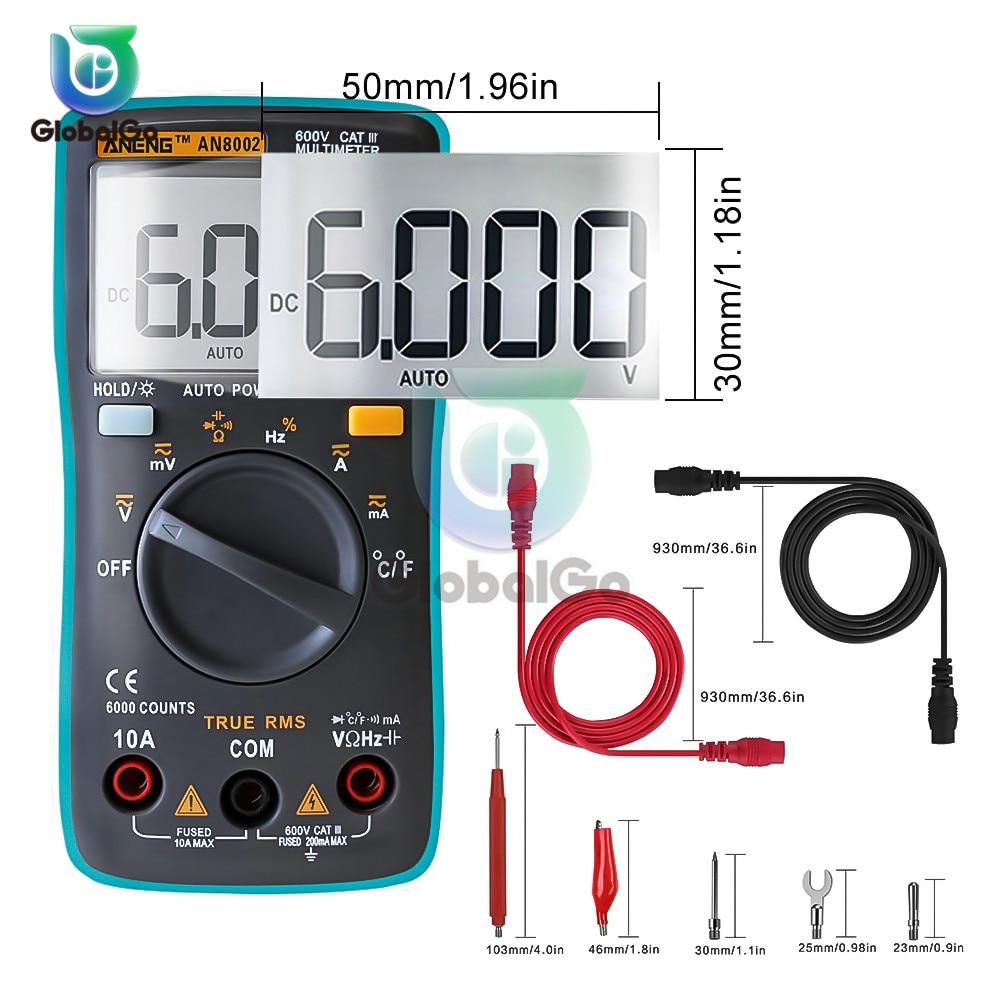 AN8002 Digital Multimeter Transistor Tester Capacitor Tester automotive Electrical  Capacitance Meter Temp Diode 6000 Counts thumbnail