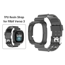Clear TPU Band Case Cover Comfortable Element Elegant Watch for Fitbit Versa 3 Sense Bracelet Strap Replacement