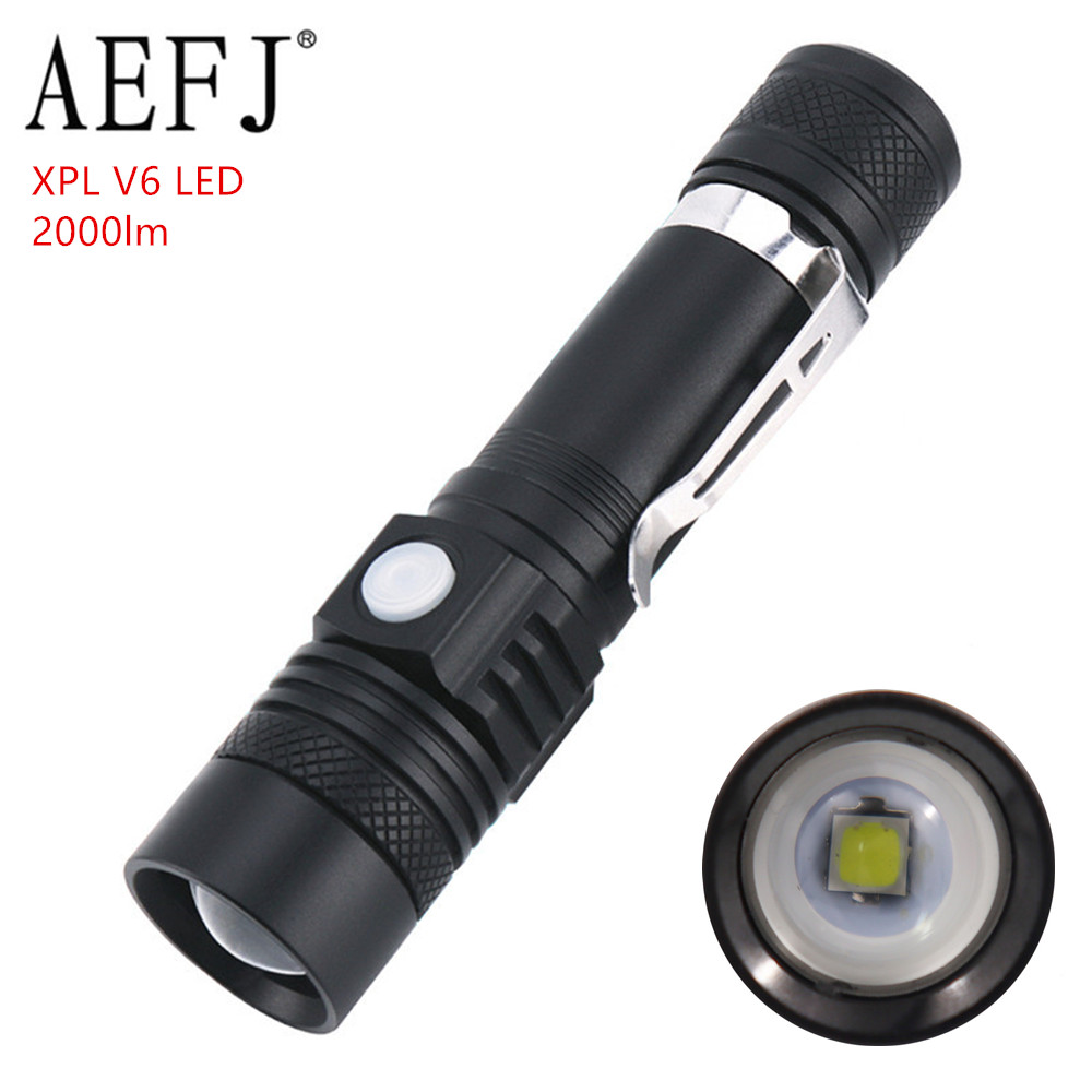 AEFJ Ultra Bright LED Flashlight XP-L V6 LED Lamp Beads Waterproof Torch Zoomable 3 Lighting Modes Multi-function USB Charging