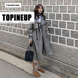 Image 4 - womens windbreaker Double Breasted Vintage Trench Coat For Ladies Long Coat Outerwear jaqueta feminina Lapel Coat  With Belt