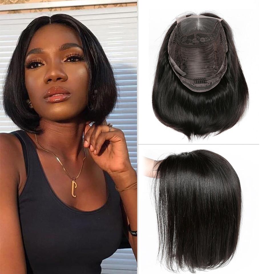Pelucas con cierre de encaje Yyong 4x4, pelucas con corte contundente de pelo lacio peruano, pelucas con cierre de encaje para mujer negra, cabello humano Remy de baja proporción