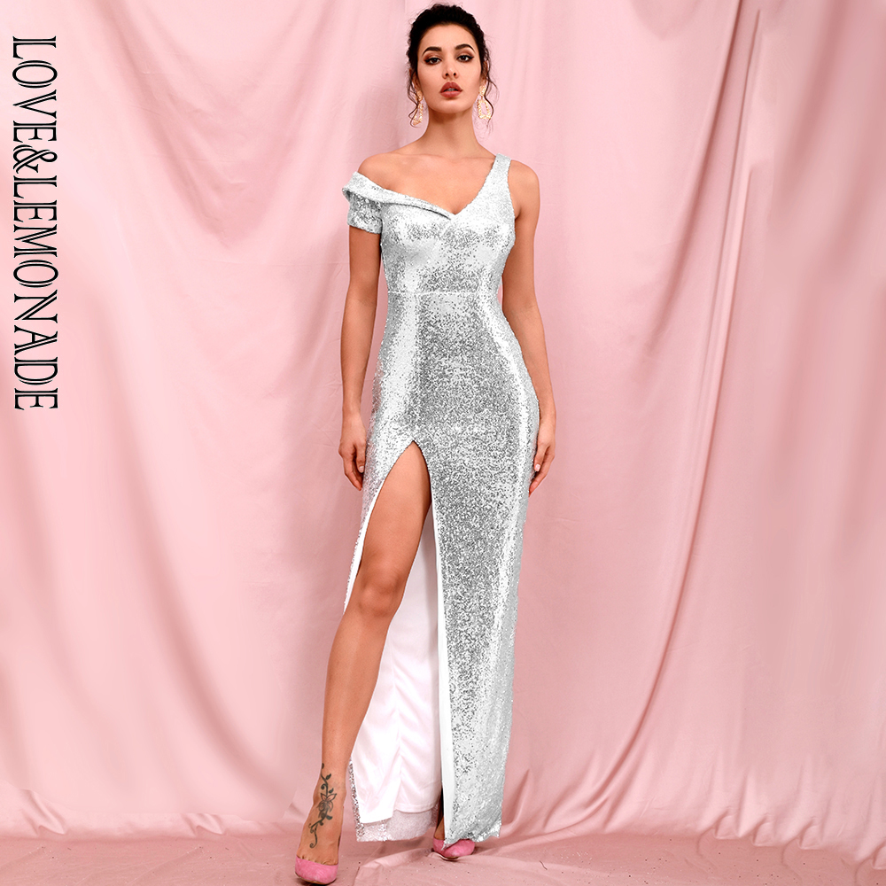 LOVE & LEMONADE Sexy Silver Strapless BODYCON Whit Split Sequin Party Maxi Dress LM82302