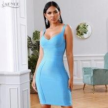 ADYCE 2019 yeni yaz bandaj elbise kadınlar seksi mavi spagetti kayışı derin V kolsuz kulübü elbise ünlü akşam parti elbiseler