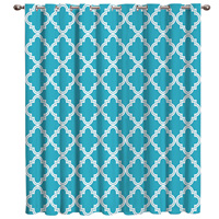 Blue Moroccan Geometric Checks Curtain Rod Living Room Bathroom Blackout Outdoor Fabric Decor Kids Curtain Panels With Grommets