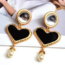 Hurtownie długie serce kolczyki wysokiej jakości metalowe naoliwione spadek kolczyk moda trend biżuteria akcesoria dla kobiet