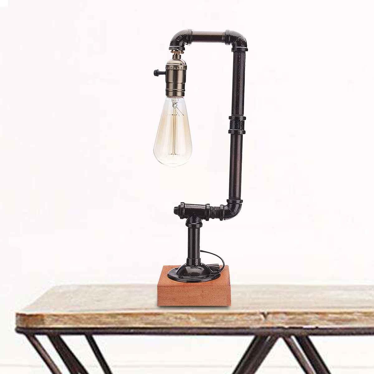 110-240V Vintage E27 bombilla Industrial tubo lámpara de mesa lámpara led para mesa de escritorio linterna accesorio interior hogar dormitorio decoración regalos