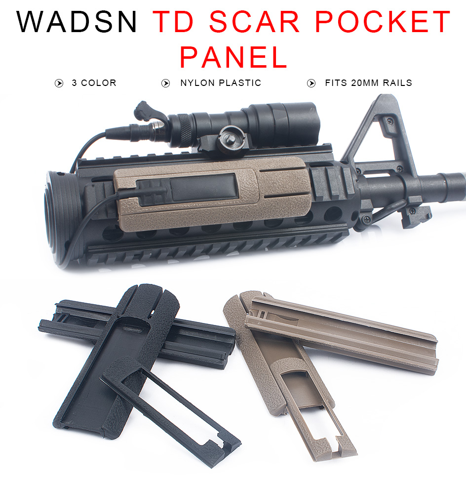 "WADSN Tactical Airsoft 4.125"" ITI TD Scar Pocket Panel Remote Switch Rail Pads Set Light Fits 20mm Rails PEQ Accessory WEX300"