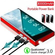 30000mAh مرآة قوة البنك شاحن بطارية LCD المزدوج USB قوة البنك ل شاومي آيفون X 8 7 6s هواوي P20 لايت
