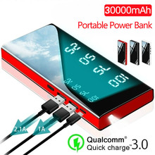 30000mAh Mirror Power Bank Battery Charger LCD Dual USB Power Bank For Xiaomi IPhone X 8 7 6s Huawei P20 Lite