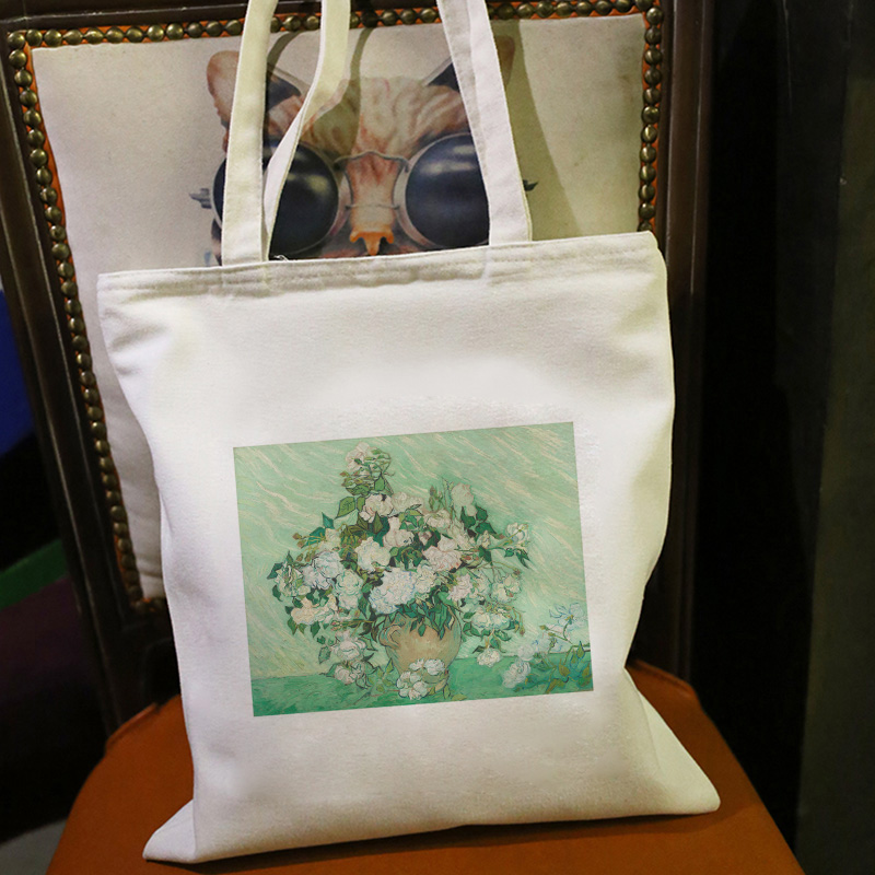 Oil Painting Fresh And Elegant Bouquet Printing New Women Bag Harajuku Elegant Shoulder Canvas Bags Ulzzang Casual Wild Handbag