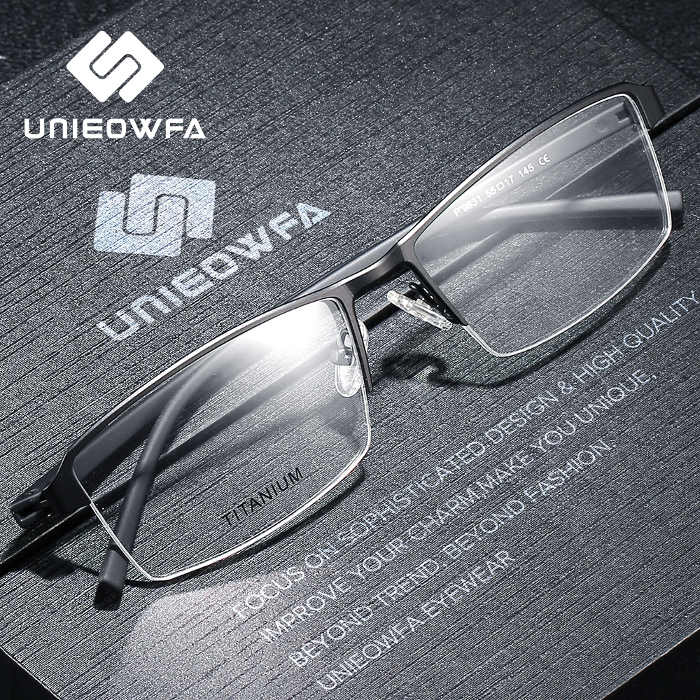Titanium Alloy Semi Rimless Prescription Glasses Frame Men Optical Myopia Eyeglasses Frame Transparent Clear Korean Spectacles