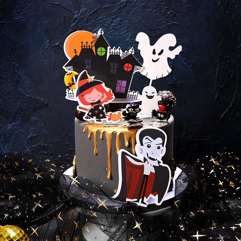 1 Set Black Castle Pumpkin Ghost Witch Vampire Happy Halloween Cake Topper Kids Favorite Party Supplies Cake Decoration in Cake Decorating Supplies from Home Garden