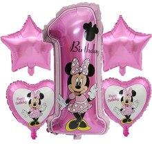 Mickey minnie número ballon chá de fraldas 1st aniversário festa de aniversário balões dos desenhos animados minnie mouse festa suprimentos hélio adorável brinquedos