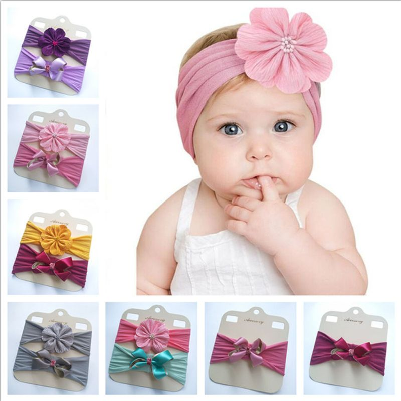 Fashion BowKnot Head Wraps Baby Nylon Hairband Flower Headband Elastic Turban
